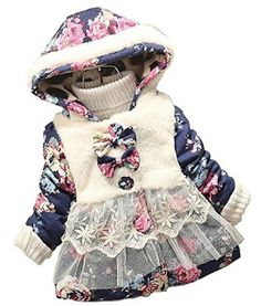 432e9ca4d Baby Girl Floral Bowknot Thickened Warm Jacket Winter Coat | Easy Buy  Hooded Winter Coat,
