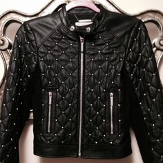 93686bdd8 Women's Black Quilted Handmade Genuine Biker Leather Jacket with Silver  Studs Features: 100 % Genuine Cowhide Leather to MM Cowhide Milled Leather  used Fine ...