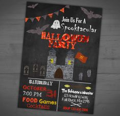 Halloween Chalkboard Invitation - Haunted Castle - Spooky Invite - Not So Spooky…