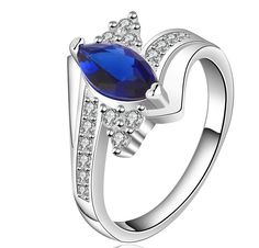 2014 Hot sell Chrismas gift Wholesale silver plated ring fashion jewelry,show a blue stone ring Elegant Wedding Rings, Silver Wedding Rings, Silver Rings, Sterling Silver Jewelry, 925 Silver, Damon Salvatore, Jewelry Show, Jewelry Rings, Jewelry Party