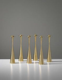 View Set of six candlesticks, model no. 189 by Tapio Wirkkala sold at Nordic Design on London 24 September 2014 Learn more about the piece and artist, and its final selling price Vintage Candle Holders, Lantern Candle Holders, Candlestick Holders, Candlesticks, Nordic Design, Scandinavian Design, Helsinki, Tubular Steel, Copper And Brass