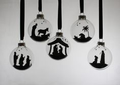 Nativity Silhouette Floating Ornament Set  5 Piece by SimplyCallie