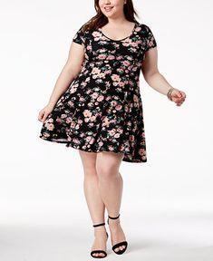 2309f7510b5 Planet Gold Trendy Plus Size Floral-Print Fit  amp  Flair Dress - Dresses -