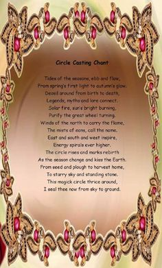 Book of Shadows: #BOS Circle Casting Chant page.
