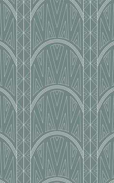 Create an ornate style room with this green art deco wallpaper, a geometric print inspired by the Chrysler building. Wallpaper Art Deco, Luxury Wallpaper, Pattern Wallpaper, Art Vert, Triangles, Chrysler Building, Estilo Art Deco, Art Deco Print, Triangle Print