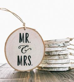 Mr. & Mrs. Birch Wood Ornament by Pixels & Wood on Scoutmob