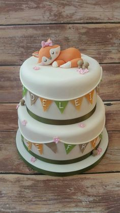 Fox cake Baby fox cake www.cakesbykaren.co.uk