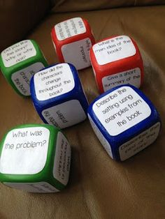 Guided Reading question cubes made from foam Dollar Tree dice... can do variations with questions or directions about comprehension, movements, numbers, directions, right/left, and so on!  The BIGGEST challenge will be the dice... I have not seen them at $ Tree, $ Dealz or $ General! At the ed store they are $16.99.
