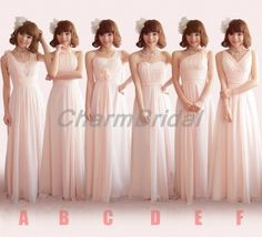 Blush Pink New A-line bridesmaid dresses/long bridesmaid dresses/ formal bridesmaid dress/ chiffon prom dress/long prom dress/prom dresses