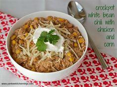 Crockpot white bean chili with chicken and corn -- from the Yankee Kitchen Ninja