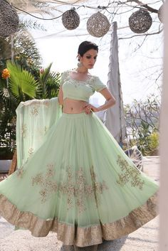 Looking for Simple mint and gold lehenga for engagement or sister? Browse of latest bridal photos, lehenga & jewelry designs, decor ideas, etc. on WedMeGood Gallery. Gold Lehenga, Green Lehenga, Bridal Lehenga Choli, Pakistani Outfits, Indian Outfits, Ethnic Fashion, Indian Fashion, Women's Fashion, Punjabi Fashion