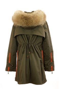 Raccoon Fur Collar Parka in Green with Natural Raccoon Fur. BACK VIEW. Poppy London brings you the oversized Fur Collared Parka Jacket. The Fur Parka comes in Army Green or Black so perfect for country or city wear.  The jacket comes with double lining, one of which can be removed for the warmer weather. The jacket feature a draw string at the back to allow you to tighten or loosen the jacket depending on the look you are going for.