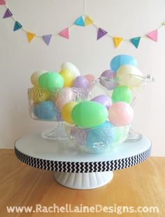 Rachel Laine Designs – Colorful Crochet, Crafts, and all things Creative :) Outdoor Cushions, Crochet Crafts, Easter Eggs, All Things, Centerpieces, Glass Bowls, Birthday Cake, Pastel, Colorful