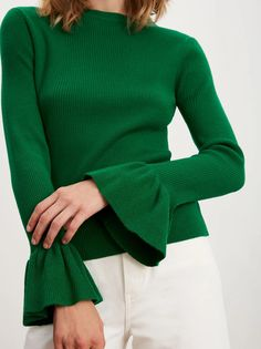 You asked, we listened! The bestselling Vivien Rib Knit Jumper is back, this time in a striking apple green hue. Made from premium merino wool in a cropped, fitted shape, its slim-fit sleeves and flared cuffs bring a lively twist to a simple denim look. Tailored Jumpsuit, Vegan Fashion, Jumpers For Women, Fashion Editor, Who What Wear, Rib Knit, Knitwear, Winter Outfits, Winter Fashion