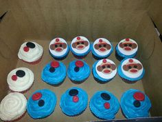 Blue vanilla sock monkey cupcakes at Mitchell's 1st Birthday