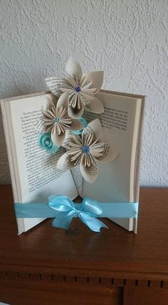 Items similar to Book fold vase/ Paper flowers, paper vase, book flowers on Etsy Folded Book Art, Book Folding, Sheet Music Crafts, Book Page Flowers, Book Page Crafts, Paper Vase, Decoupage Box, Book Sculpture, Paper Flowers Diy