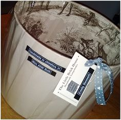 Hunting Toile Double Lined Drum Lampshade handmade by The Little Brick House