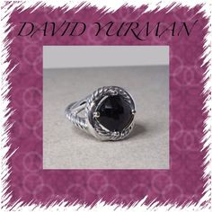 David Yurman Sterling Silver/Black Onyx Ring Beautiful David Yurman Sterling Silver Albion ring with black faceted cut Onyx.  This is his Serenity band piece as you can see the band twist.  Second picture shows you just what design is in stock photos. The size of Onyx is 11 X 11 and the faceted design is beautiful✨✨ David Yurman Jewelry Rings