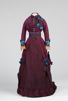 Afternoon dress - Afternoon dress Designer: Grace King (American) Date: 1870–75 Culture: American Medium: silk, metal Dimensions: Length at CB (a): 26 in. (66 cm) Length at CB (b): 53 in. (134.6 cm) Credit Line: Brooklyn Museum Costume Collection at The Metropolitan Museum of Art, Gift of the Brooklyn Museum, 2009; Gift of Mrs. Charles F. Junod Jr., 1964