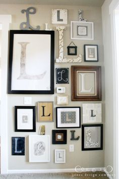 Wall art of intials! not just pictures or artwork but other creative displays of monograms.
