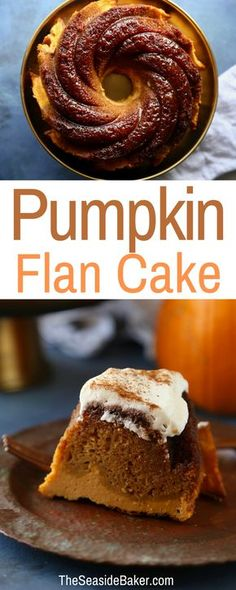Two desserts in one, this cake has a delicious pumpkin spice cake layer and a pumpkin custard flan layer! It makes the perfect fall dessert!