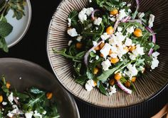 Arugula and Roasted Chickpea Salad with Feta                                                                                                      Roasting is a great way to achieve delicious, crispy chickpeas without having to deep-fry them. We suggest you make extra: They're so good, you'll want them around to sprinkle over salads—or just to snack on.