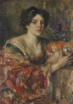 Edward Arthur Walton (1860 - 1922) - The fortune teller, Miss Jane Aitken