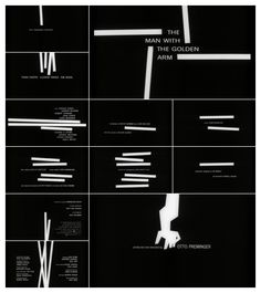 This image shows a graphic sequence of an opening credits scene to the movie man with a golden arm
