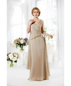 Glamorous V Neck Floor Length Champagne Chiffon Mother Of The Bride Dress With Wrap