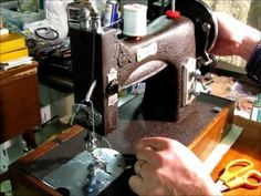 Domestic model 153 sewing machine. This particular model has a magnesium body which makes it very much lighter than its contemporary cast iron counterparts. ...