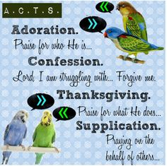 Biblical Acronym for prayer ....Adoration, Confession, Thanksgiving, Supplication = ACTS