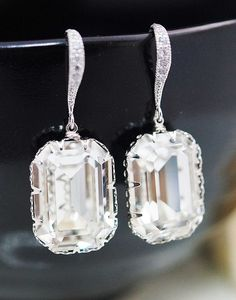 Swarovski Crystal Rectangle drops dangle earrings....Diamonds Are a Girls Best Friend,but these would do....