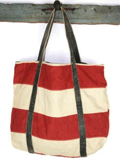 this bag is made from a vintage american flag with straps from a vintage motorcycle jacket! from khepri. Craft Bags, Handmade Bags, Purses And Handbags, Bag Making, Fashion Bags, American Flag, Tote Bag, Motorcycle Jacket, Leather