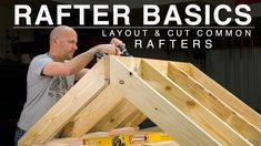 Today we are tackling a big beginner lesson, which is common rafter layout and cutting. Common rafters are the most 'common' type of rafter in construction, . Woodworking Projects Diy, Diy Wood Projects, Home Projects, Woodworking Plans, Framing Construction, Shed Construction, Roof Truss Design, Diy Storage Shed, Diy Shed Plans