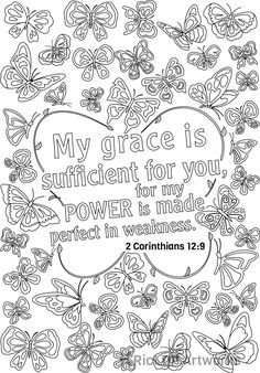 My grace is sufficient for you 2 Corintihians 12:9 (13 Bible Verse Coloring Pages for Adults)