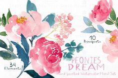 Peonies Dream - Watercolor Floral Se by SmallHouseBigPony on @creativemarket