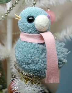 Sweet Little Woolen Pom Pom Bird Christmas Clip On Christmas Ornament