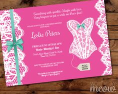Lingerie Shower Invitations Lace Pink Bow Diamante Invite