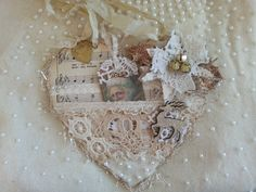 Christmas Hanging Heart, Tattered Doilies and Lace, Pocket Heart Victorian Christmas Ornaments, Shabby Chic Christmas, Pink Christmas, Christmas Cards, Christmas Stuff, Vintage Christmas, Christmas Stockings, Christmas Crafts For Gifts, Valentine Crafts