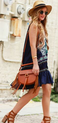 Summer embroidered bohemian dress with ruffle hemline styled with fringe Sancia crossbody bag and lace up block heels, easy weekend outfit