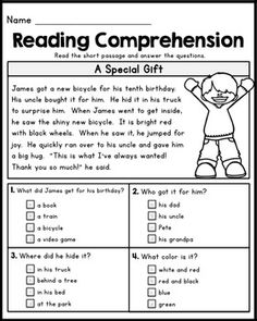 First Grade Reading Comprehension Passages - Set 1 by Kaitlynn Albani First Grade Reading Comprehension, Grade 1 Reading, Reading Comprehension Worksheets, Reading Fluency, Reading Intervention, Reading Passages, Kindergarten Reading, Teaching Reading, Kindergarten Goals