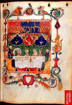 'Barcelona Haggadah', Barcelona, c. 1340 (Additional MS 14761, f. 28v). Historiated initial-word panel Ha lahma aniya (The Bread of Affliction), and a miniature depicting a family by the Seder table, the master of the house placing the basket of unleavened bread on the head of one of his children.