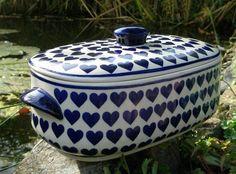 Extra large baker with hearts! Polish pottery