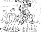 Art of Dachshund Single Coloring Page - Harvest Doxie