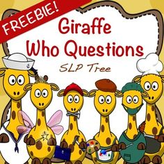 "These cute giraffe themed cards target developing the skill of comprehending that a ""Who"" question requires a response that names a person. There are three skill levels included in this freebie - independent (no choices), written choices, and picture choices with 18 ""Who"" question cards for each level."