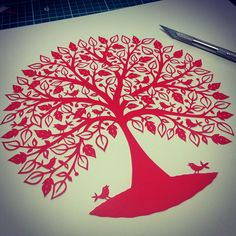 Red Tree with Singing Birds papercut by Suzy Taylor