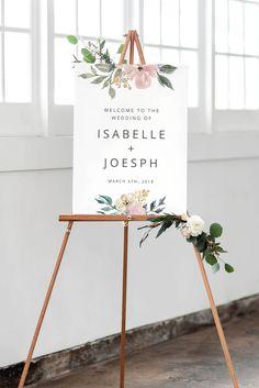 Blush Wedding Welcome Sign, Printable Wedding Sign, Wedding Reception Sign, Vintage Floral Wedding Sign Decor by JadeAndOak on Etsy