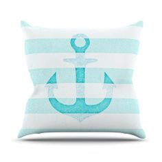 "Monika Strigel ""Stone Vintage Aqua Anchor"" Throw Pillow 