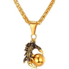 Check out our Dragon Claw With Egg Necklace 18K Gold Plated Pendant