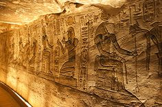 Religious wall painting in temple of Ramses II, Abu Simbel, Nubia, Egypt